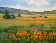 A perfect poppy day poppies Lancaster California wildflower plein air style oil painting contemporary impressionist art by Karen Winters rolling hills spring orange gold color