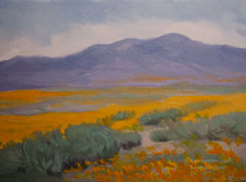 Across the Poppy Fields 6 x 8 inch oil painting Lancaster California