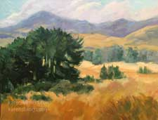 Along Highway One Central Coast California oil painting rolling golden hills cypress trees