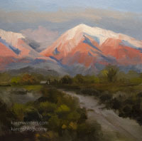 Alpenglow at Bishop - Eastern Sierra oil painting miniature
