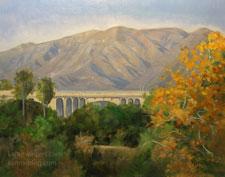 Arroyo Seco Fall - Pasadena Colorado Street Bridge oil painting art for sale