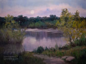 Arroyo Moonrise - Hahamongna Park, Arroyo Seco, Pasadena, California oil painting