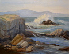 Asilomar Waves plein air oil painting