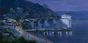 Avalon Harbor Catalina Oil Painting - Nocturne Night Painting