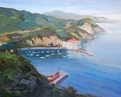 Avalon Harbor Catalina Island Oil Painting - from Wrigley Drive overlooking the Casino