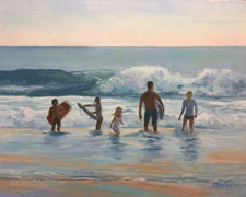 Beach family commissioned oil painting