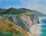 Big Sur Bixby Bridge California Central Coast art oil painting original California impressionist seascape commissioned painting by Karen Winters