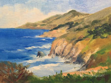Big Sur Coastline 6 x 8 oil painting