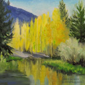 Bishop Creek Lake Sabrina 6 x 6 miniature oil painting by Karen Winters
