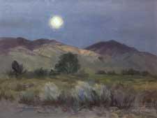 Bishop moonrise Owens Valley eastern sierra nocturne sunset oil painting