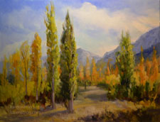 Bishop Poplars Round Valley, Swall Meadow Paradise autumn color painting