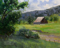 Calaveras County Ranch barn gold rush country plein air painting