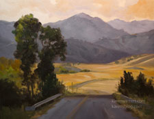California Backroads oil painting Central Coast Nacimiento Ferguson Road Jolon Hunter Liggett, tonalist, impressionist landscape karen Winters