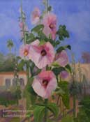 Capistrano hollyhock flowers painting
