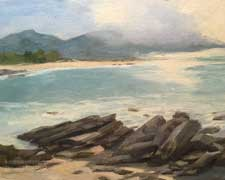 Carmel Bay Shimmer Oil Painting with Rocks, view of Carmel River, Monastery Beach impressionist oil painting