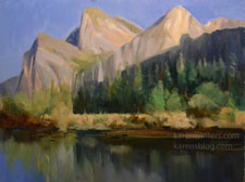 Cathedral Rocks Yosemite Merced River oil painting art by Karen Winters
