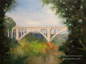 Colorado street Bridge miniature 6 x 8 inch painting