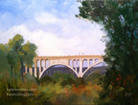 Colorado Street Bridge - Changing seasons miniature oil painting