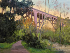 Colorado Street Bridge Pasadena Oil Painting Spring Stroll in the Arroyo Seco