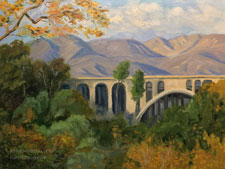 Colorado Street Bridge painting with sycamores in arroyo seco Pasadena