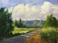 country morning backroad Cortez Colorado oil painting