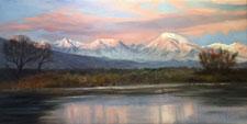 December Dawn Bishop Eastern Sierra sunrise oil painting snow winter