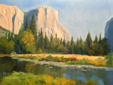 El Capitan Yousemite Autumn Merced River 9 x 12 oil painting
