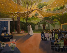 French estate wedding - live event wedding painting by Karen Winters