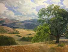 Golden California Afternoon rolling hills oil painting