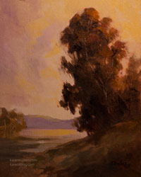 Golden sunset eucalyptus oil painting California landscape art for sale