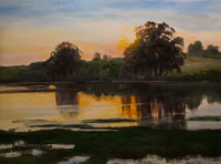 Golden Quiet Devereux Lagoon Oil California landscape painting