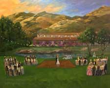 Hummingbird Nest Sunset Wedding painting