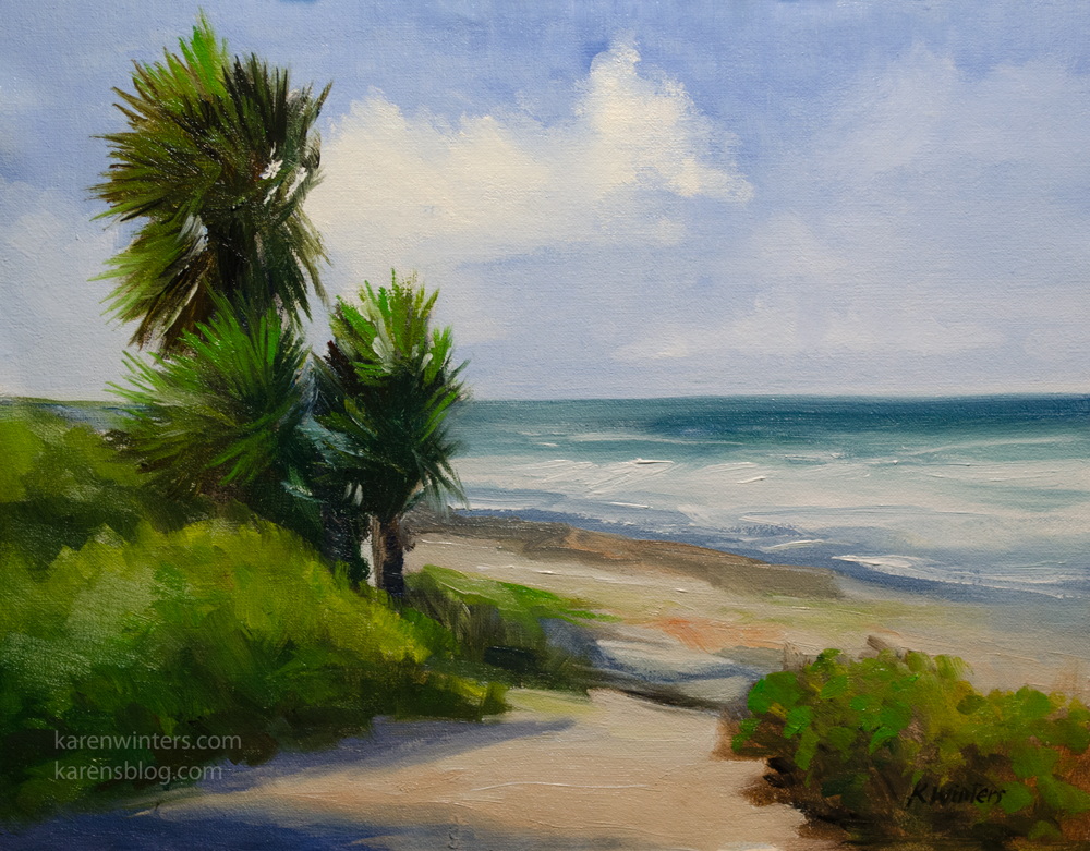 La Jolla California Beach Palm Trees Seascape Oil Painting