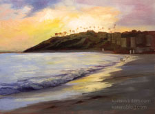 Laguna Main Beach Sunset 12 x 16 inch oil painting