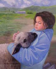 Laura and Her Lamb - 4H portrait with sheep