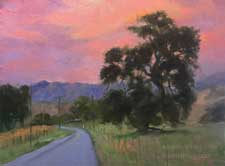 Los Olivos Sunset oill painting 11 x 14