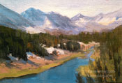 Mack Lake Little Lakes Valley Rock Creek art oil painting miniature for sale