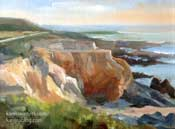 Moonstone Beach plein air oil painting by Karen Winters Cambria Central Coast art painting for sale