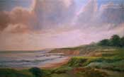 Moonstone Beach Cambria sunset oil painting commission custom art painted by Karen Winters
