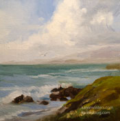 Moonstone Beach Cambria 6 x 6 painting