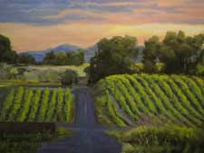 Naturally Napa vineyard California impressionist oil painting - landscape twilight wine country art for sale