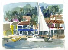 Newport Sailboat Watercolor Painting