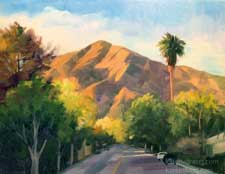 North on Baldwin Sierra Madre urban street scene Jones Peak california impressionist oil painting
