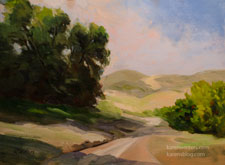 Oaks guarding oranges California landscape oak hills oil painting for sale