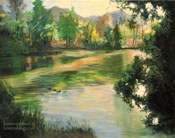 On Descanso Pond - lake oil painting Descanso Gardens, La Canada Flintridge Art