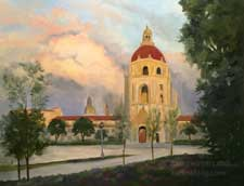 Pasadena City Hall Building with Clouds oil painting fine art for sale