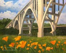 Pasadena Colorado Street Bridge with Poppies Arroyo Seco painting art
