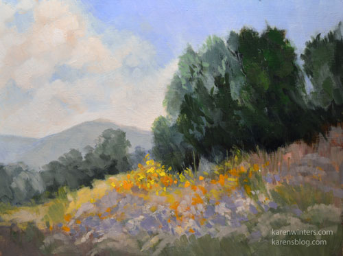 california landscape oil painting pepper tree san gabriel mountains impressionist art