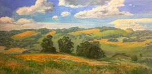 Poppy celebration California rolling hills poppies impressionist oaks oil painting