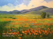 Poppy perfection Lancaster poppies oil painting California